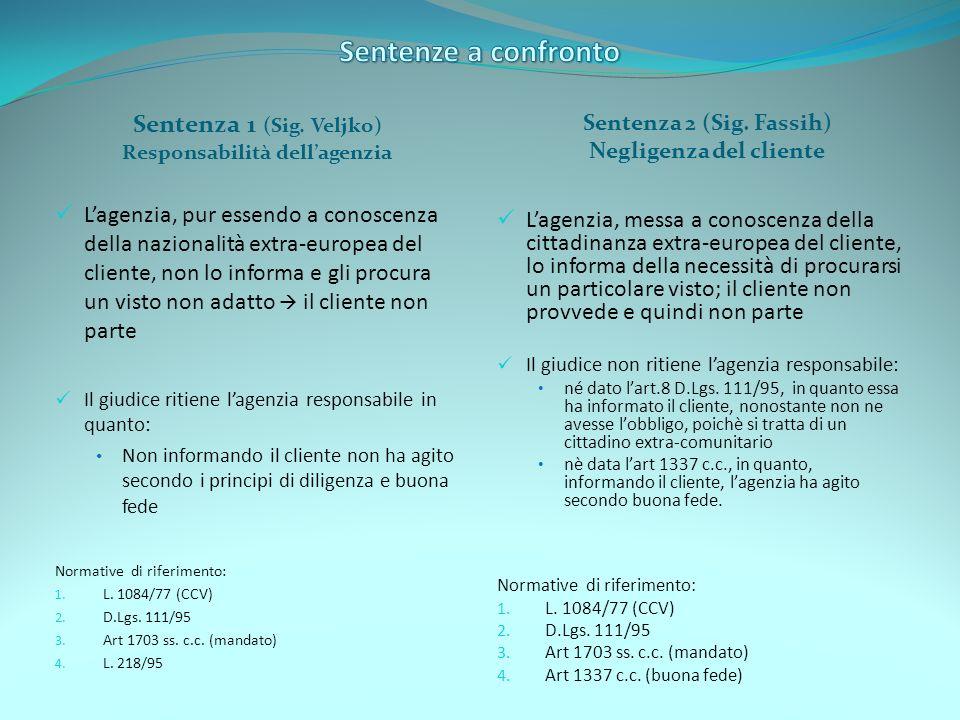Sentenza 1 (Sig. Veljko) Responsabilità dellagenzia Sentenza 2 (Sig. Fassih) Negligenza del cliente Lagenzia, pur essendo a conoscenza della nazionali