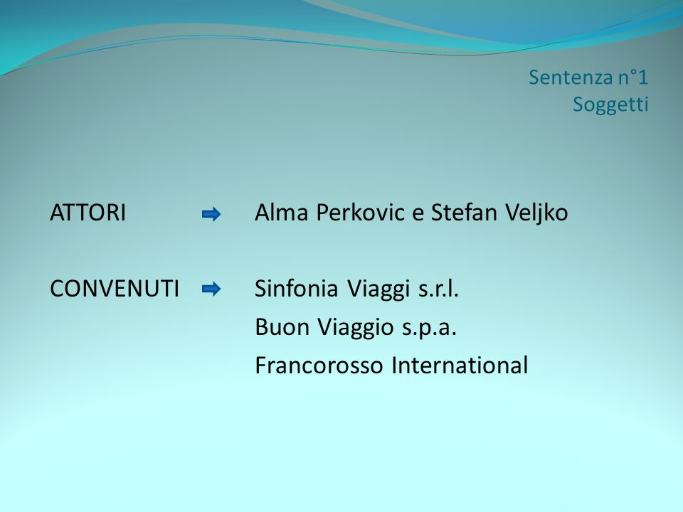 Sentenza n°1 Ricostruzione del fatto Alma Perkovic e Stefan Veljko acquistano, il 18/09/01, un pacchetto di viaggio per lEgitto dalla Sinfonia Viaggi s.r.l., informando lagenzia della nazionalità croata del Sig.