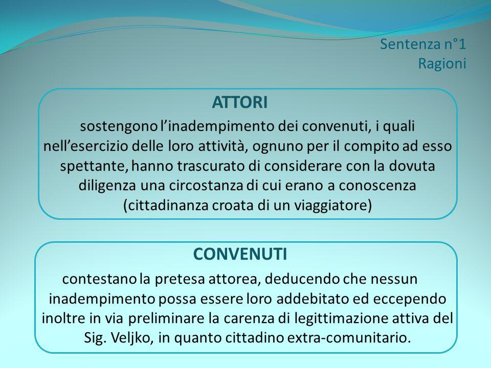 Sentenza n°1 Disposizione del giudice CONCLUSIONE Viene affermata la legittimazione attiva del Sig.