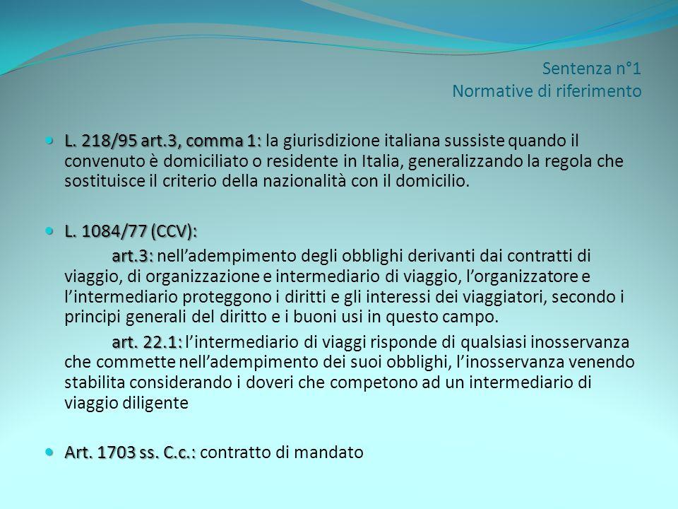 Sentenza n°1 Normative di riferimento L. 218/95 art.3, comma 1: L. 218/95 art.3, comma 1: la giurisdizione italiana sussiste quando il convenuto è dom