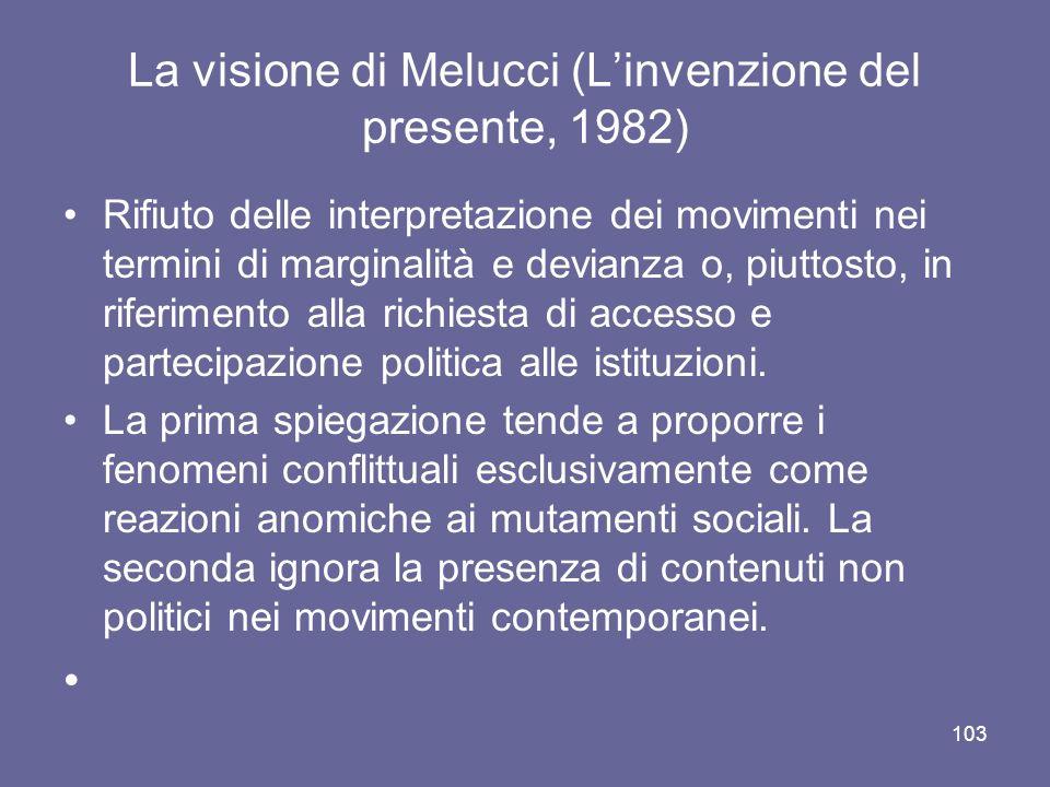 La visione di Melucci (Linvenzione del presente, 1982) Rifiuto delle interpretazione dei movimenti nei termini di marginalità e devianza o, piuttosto, in riferimento alla richiesta di accesso e partecipazione politica alle istituzioni.
