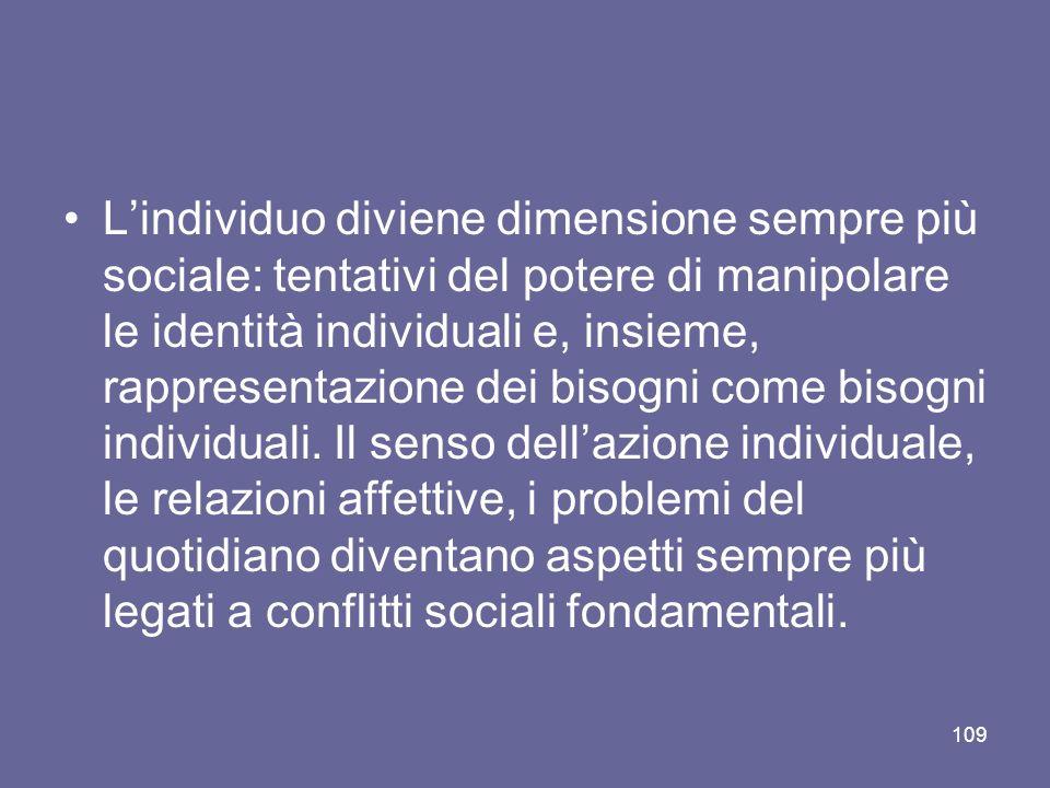 Lindividuo diviene dimensione sempre più sociale: tentativi del potere di manipolare le identità individuali e, insieme, rappresentazione dei bisogni come bisogni individuali.