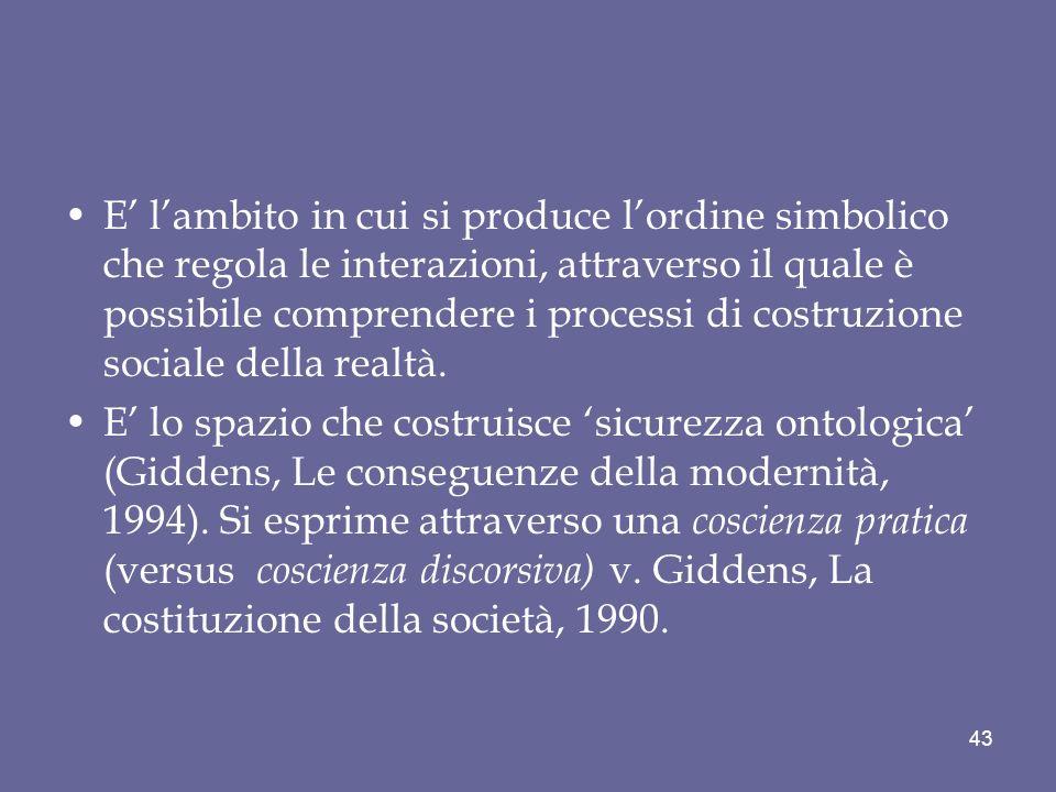 E lambito in cui si produce lordine simbolico che regola le interazioni, attraverso il quale è possibile comprendere i processi di costruzione sociale della realtà.