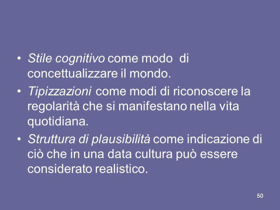 Stile cognitivo come modo di concettualizzare il mondo.