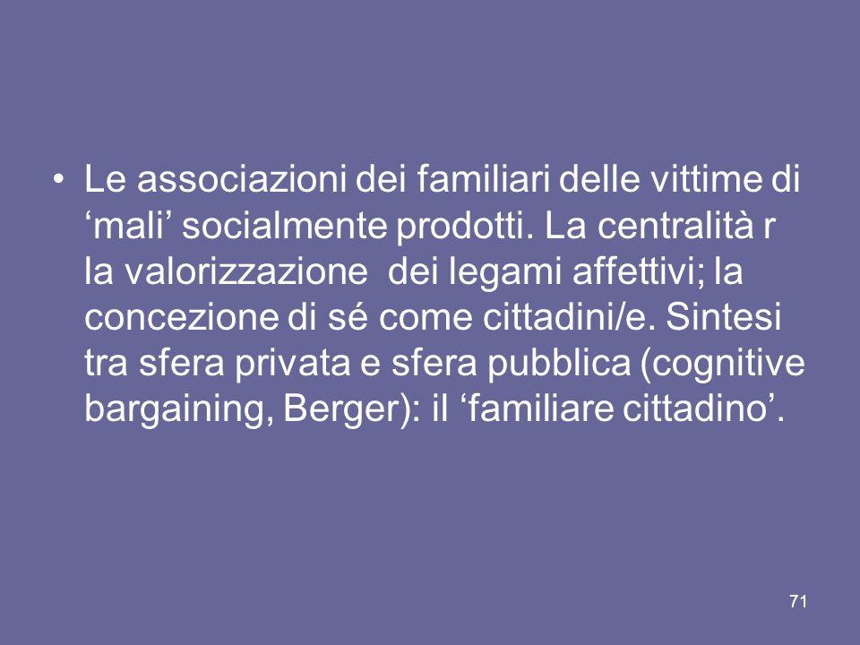Le associazioni dei familiari delle vittime di mali socialmente prodotti.