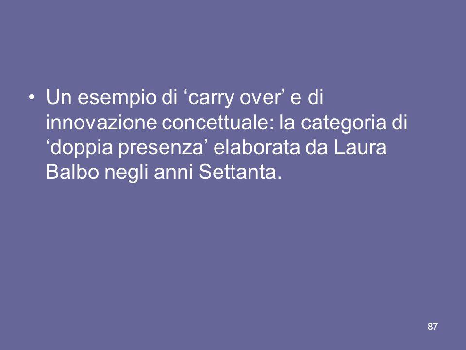 Un esempio di carry over e di innovazione concettuale: la categoria di doppia presenza elaborata da Laura Balbo negli anni Settanta.