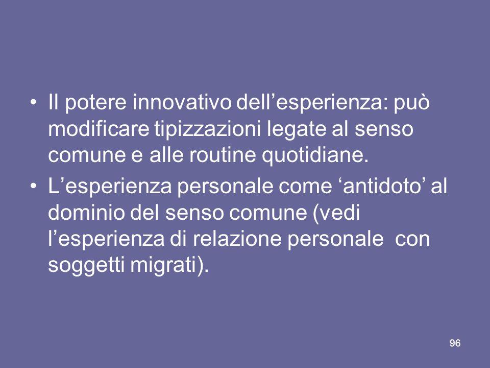 Il potere innovativo dellesperienza: può modificare tipizzazioni legate al senso comune e alle routine quotidiane.
