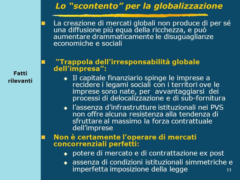 11 Fatti rilevanti La creazione di mercati globali non produce di per sé una diffusione più equa della ricchezza, e può aumentare drammaticamente le d