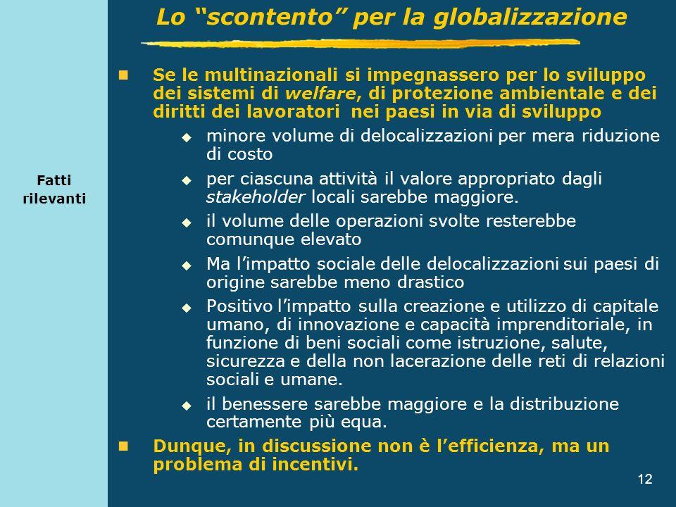 12 Fatti rilevanti Se le multinazionali si impegnassero per lo sviluppo dei sistemi di welfare, di protezione ambientale e dei diritti dei lavoratori
