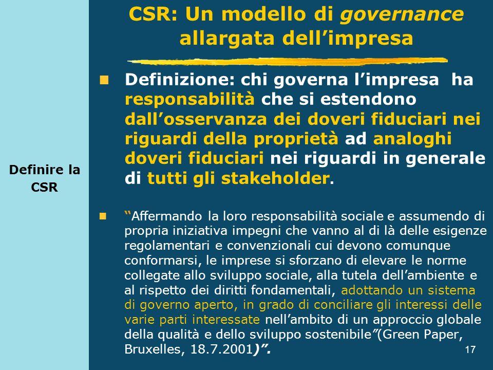 17 Definire la CSR Definizione: chi governa limpresa ha responsabilità che si estendono dallosservanza dei doveri fiduciari nei riguardi della proprie