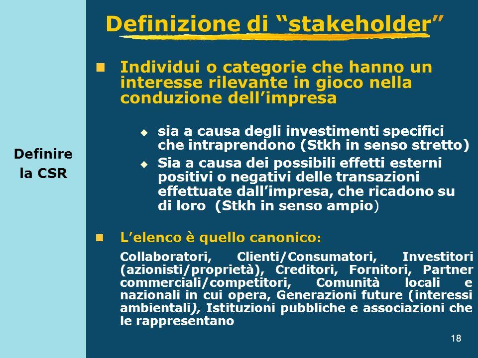 18 Definire la CSR Individui o categorie che hanno un interesse rilevante in gioco nella conduzione dellimpresa sia a causa degli investimenti specifi