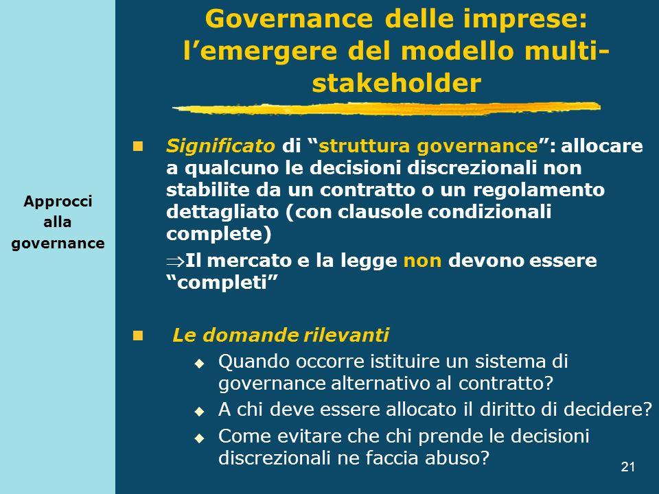 21 Approcci alla governance Significato di struttura governance: allocare a qualcuno le decisioni discrezionali non stabilite da un contratto o un reg