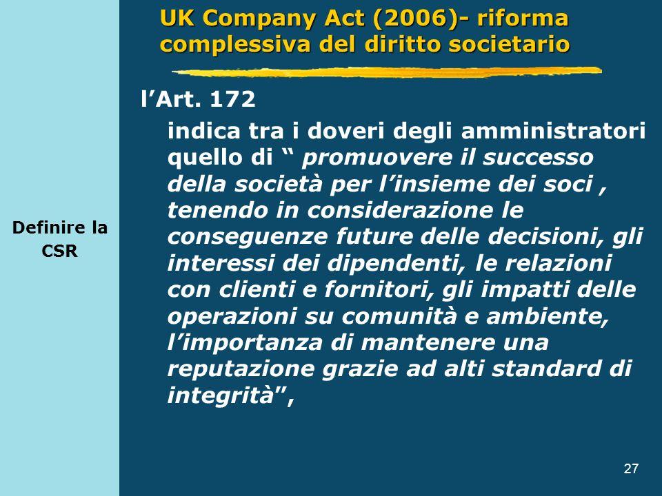 27 Definire la CSR lArt. 172 indica tra i doveri degli amministratori quello di promuovere il successo della società per linsieme dei soci, tenendo in