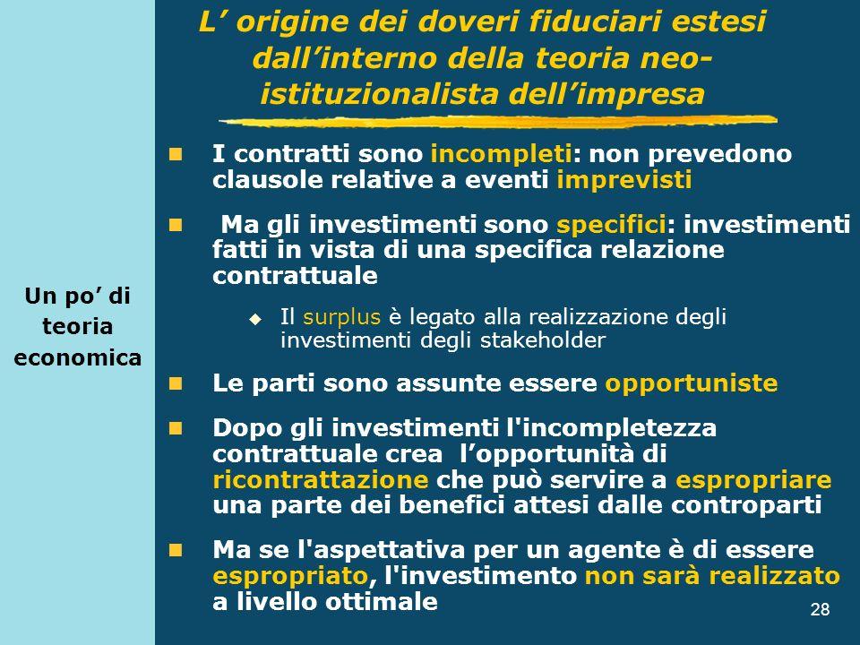 28 Un po di teoria economica I contratti sono incompleti: non prevedono clausole relative a eventi imprevisti Ma gli investimenti sono specifici: inve