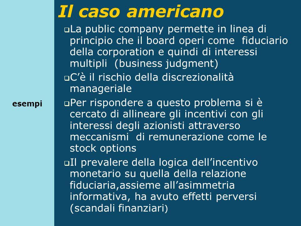 Il caso americano La public company permette in linea di principio che il board operi come fiduciario della corporation e quindi di interessi multipli