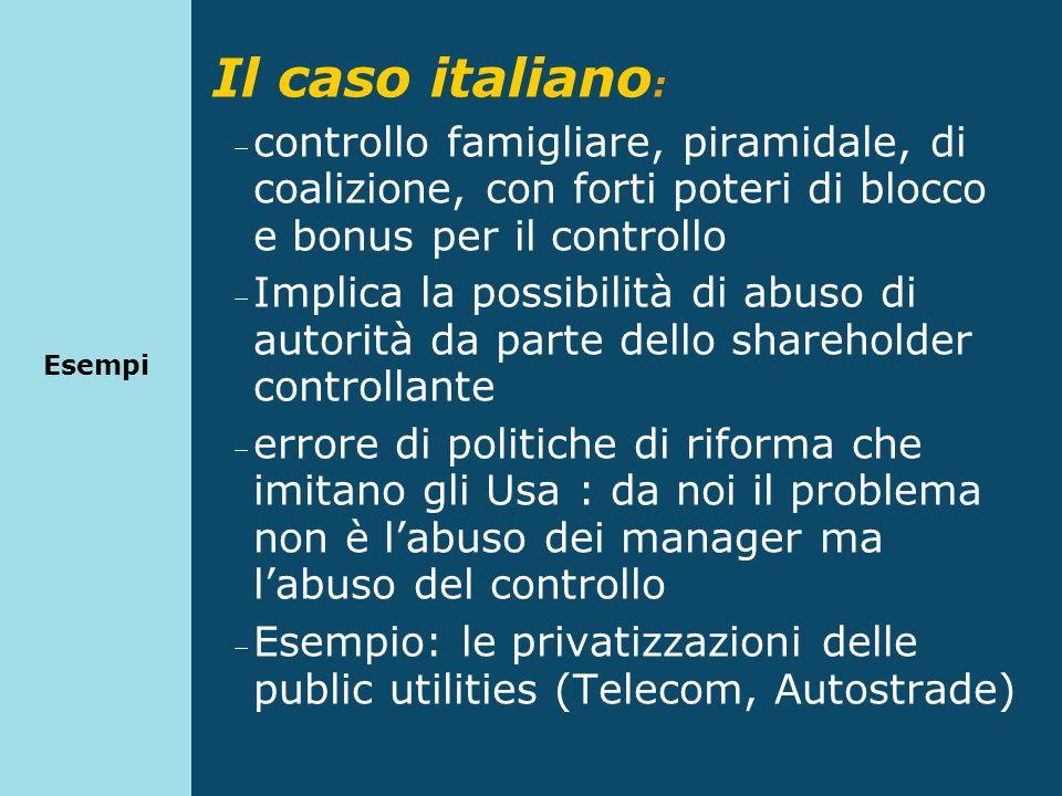 Il caso italiano : controllo famigliare, piramidale, di coalizione, con forti poteri di blocco e bonus per il controllo Implica la possibilità di abus