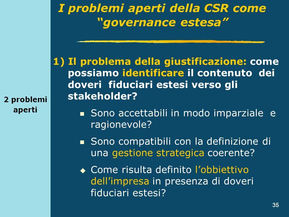 35 2 problemi aperti 1) Il problema della giustificazione: come possiamo identificare il contenuto dei doveri fiduciari estesi verso gli stakeholder?