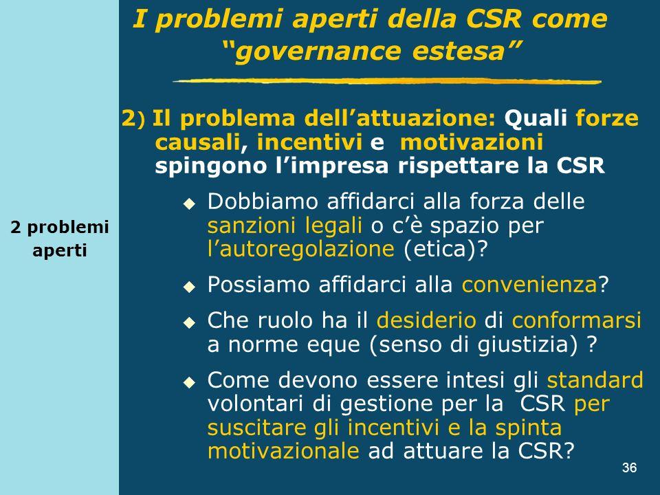 36 2 problemi aperti 2 ) Il problema dellattuazione: Quali forze causali, incentivi e motivazioni spingono limpresa rispettare la CSR Dobbiamo affidar