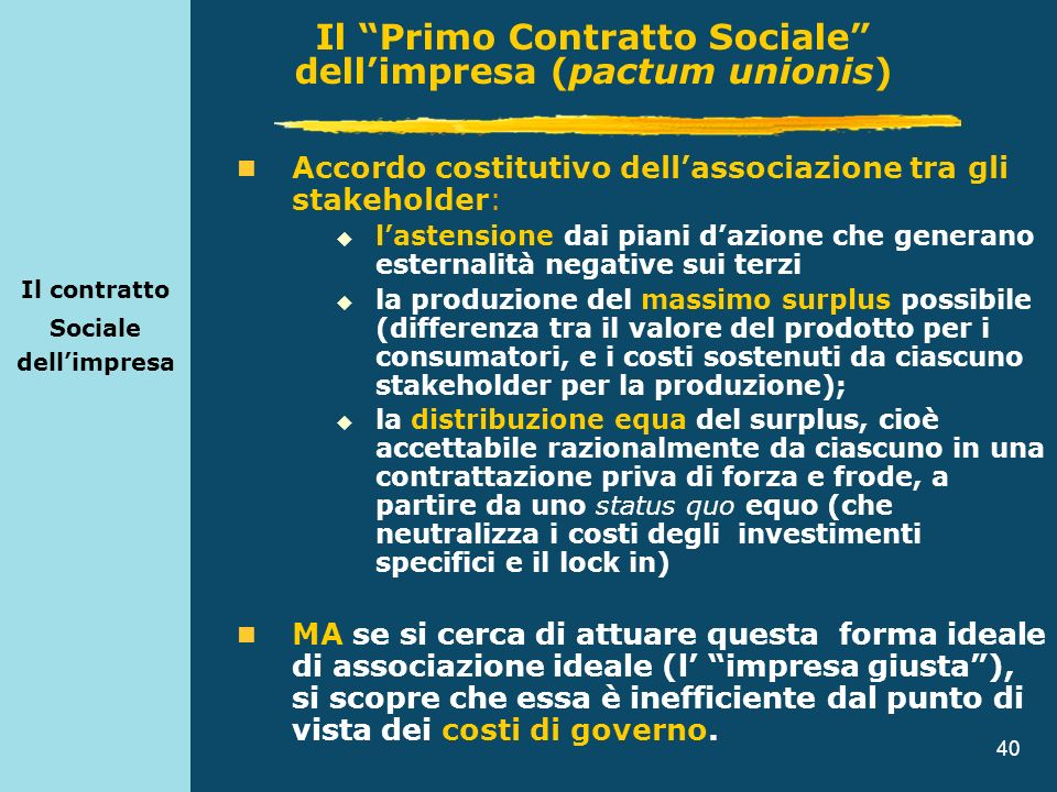 40 Il contratto Sociale dellimpresa Accordo costitutivo dellassociazione tra gli stakeholder: lastensione dai piani dazione che generano esternalità n