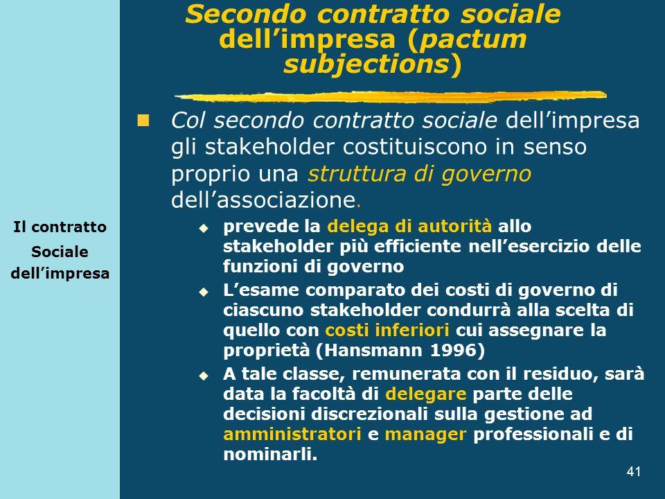 41 Il contratto Sociale dellimpresa Col secondo contratto sociale dellimpresa gli stakeholder costituiscono in senso proprio una struttura di governo