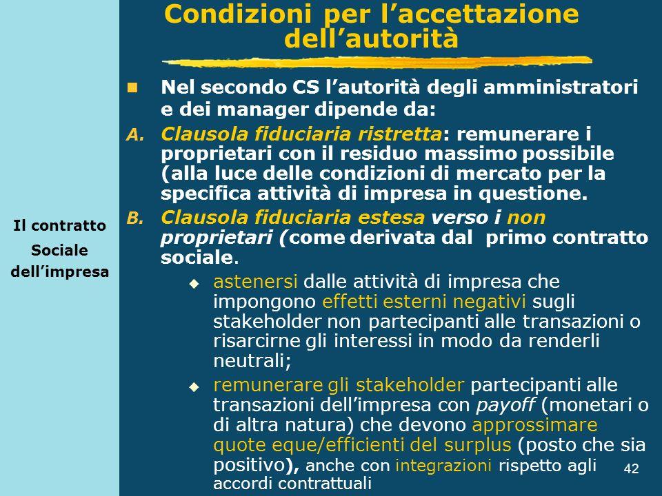 42 Il contratto Sociale dellimpresa Nel secondo CS lautorità degli amministratori e dei manager dipende da: A. Clausola fiduciaria ristretta: remunera