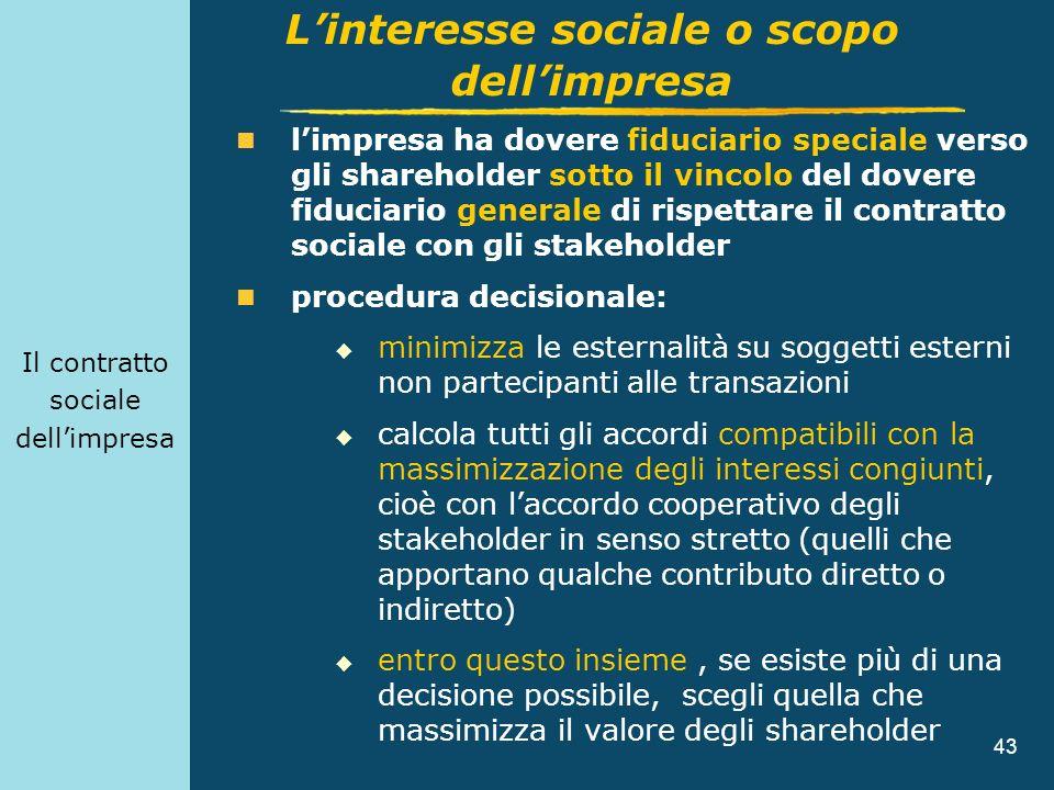 43 Il contratto sociale dellimpresa limpresa ha dovere fiduciario speciale verso gli shareholder sotto il vincolo del dovere fiduciario generale di ri