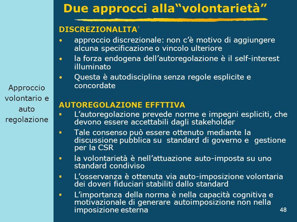 48 Approccio volontario e auto regolazione DISCREZIONALITA approccio discrezionale: non cè motivo di aggiungere alcuna specificazione o vincolo ulteri