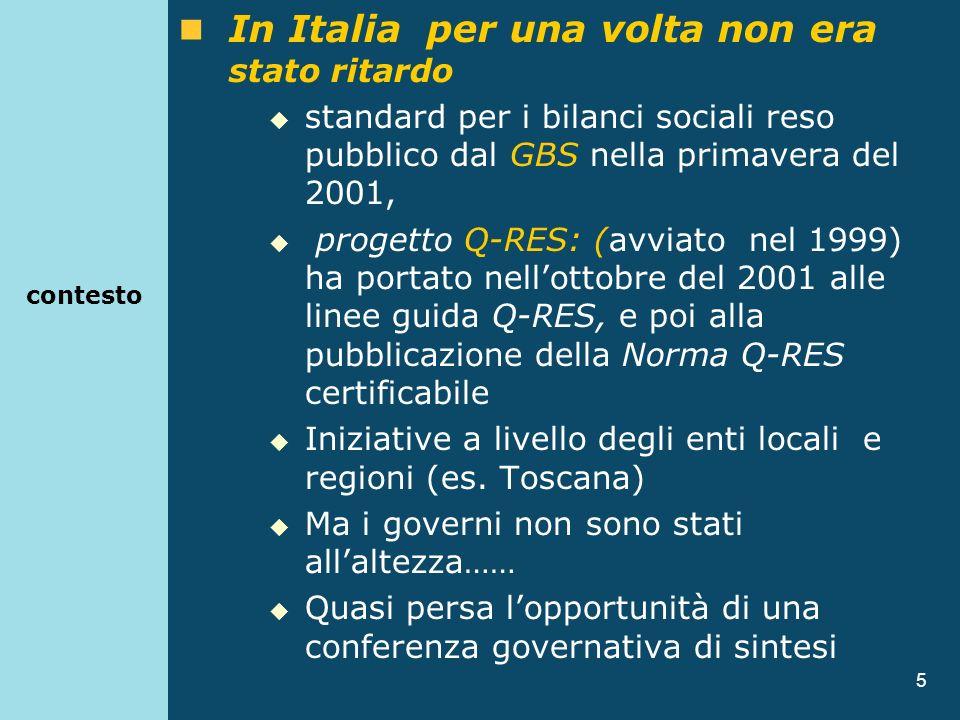 5 contesto In Italia per una volta non era stato ritardo standard per i bilanci sociali reso pubblico dal GBS nella primavera del 2001, progetto Q-RES