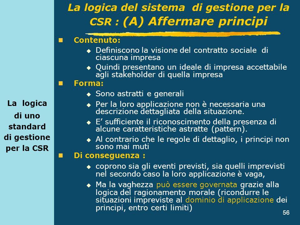 56 La logica di uno standard di gestione per la CSR Contenuto: Definiscono la visione del contratto sociale di ciascuna impresa Quindi presentano un i
