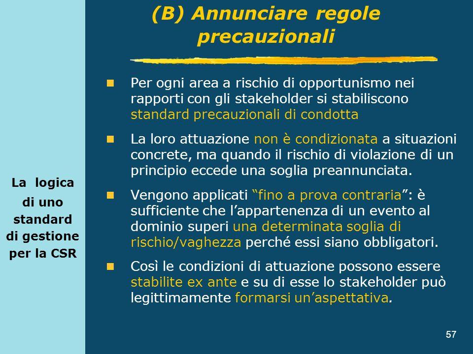 57 La logica di uno standard di gestione per la CSR Per ogni area a rischio di opportunismo nei rapporti con gli stakeholder si stabiliscono standard