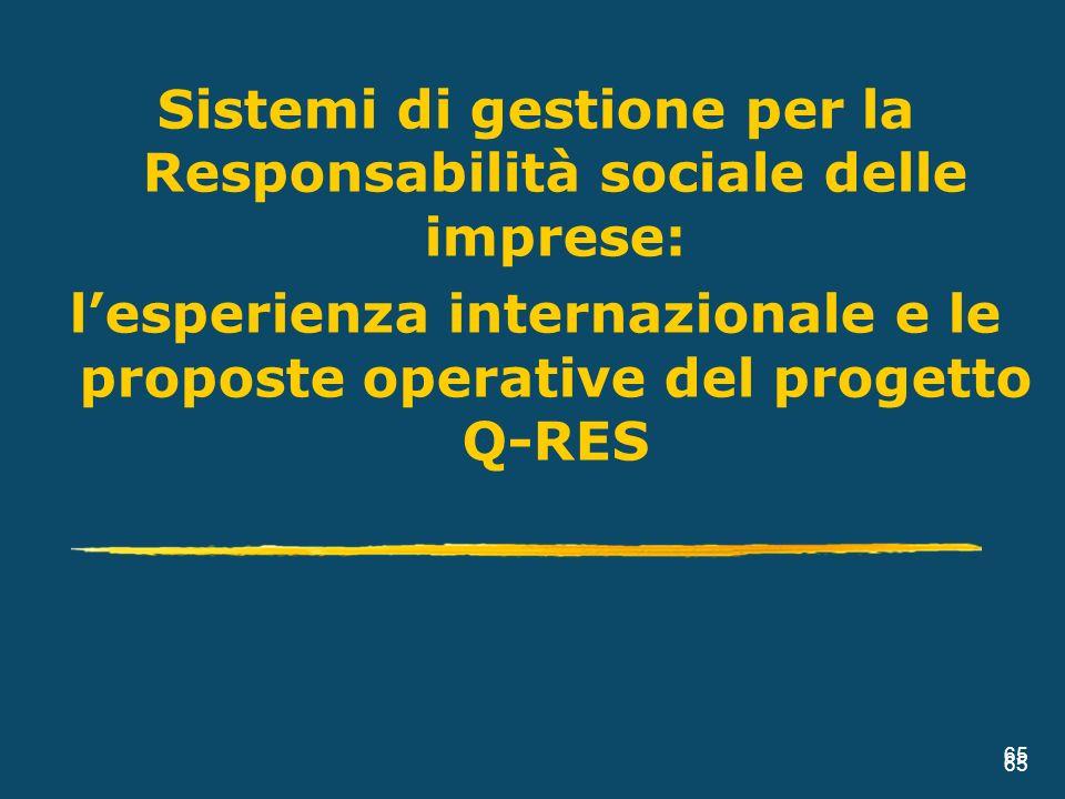65 Sistemi di gestione per la Responsabilità sociale delle imprese: lesperienza internazionale e le proposte operative del progetto Q-RES 65