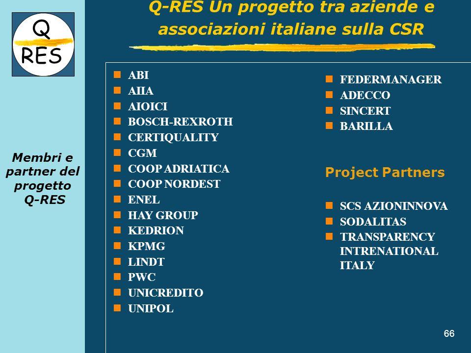 66 Membri e partner del progetto Q-RES Q RES Q-RES Un progetto tra aziende e associazioni italiane sulla CSR ABI AIIA AIOICI BOSCH-REXROTH CERTIQUALIT
