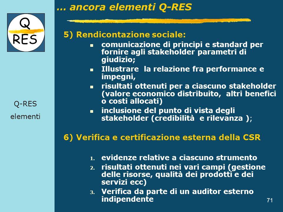 71 Content 5) Rendicontazione sociale: comunicazione di principi e standard per fornire agli stakeholder parametri di giudizio; Illustrare la relazion