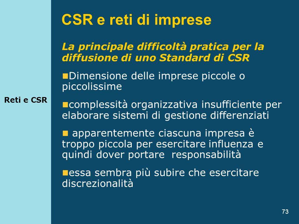 73 La principale difficoltà pratica per la diffusione di uno Standard di CSR Dimensione delle imprese piccole o piccolissime complessità organizzativa
