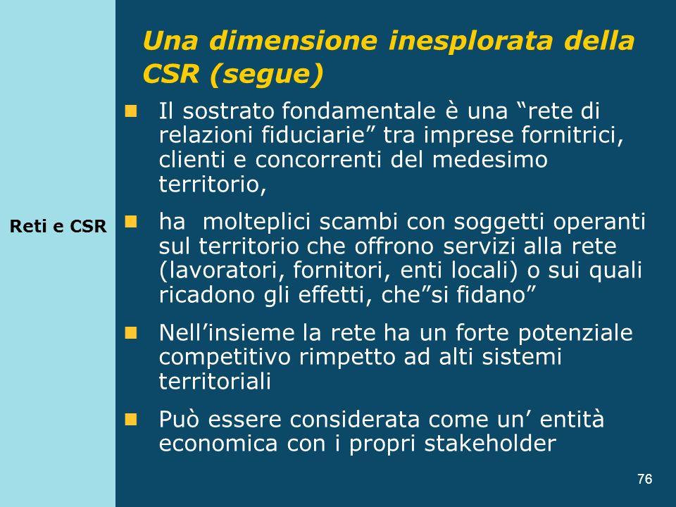 76 Il sostrato fondamentale è una rete di relazioni fiduciarie tra imprese fornitrici, clienti e concorrenti del medesimo territorio, ha molteplici sc