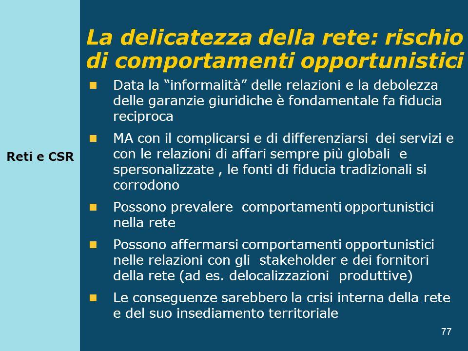 77 Data la informalità delle relazioni e la debolezza delle garanzie giuridiche è fondamentale fa fiducia reciproca MA con il complicarsi e di differe