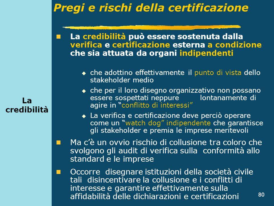 80 La credibilità può essere sostenuta dalla verifica e certificazione esterna a condizione che sia attuata da organi indipendenti che adottino effett
