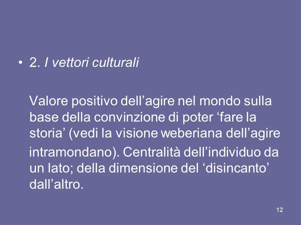 2. I vettori culturali Valore positivo dellagire nel mondo sulla base della convinzione di poter fare la storia (vedi la visione weberiana dellagire i