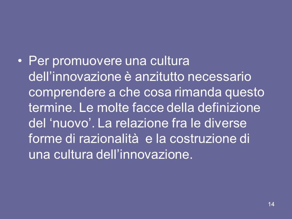 Per promuovere una cultura dellinnovazione è anzitutto necessario comprendere a che cosa rimanda questo termine. Le molte facce della definizione del