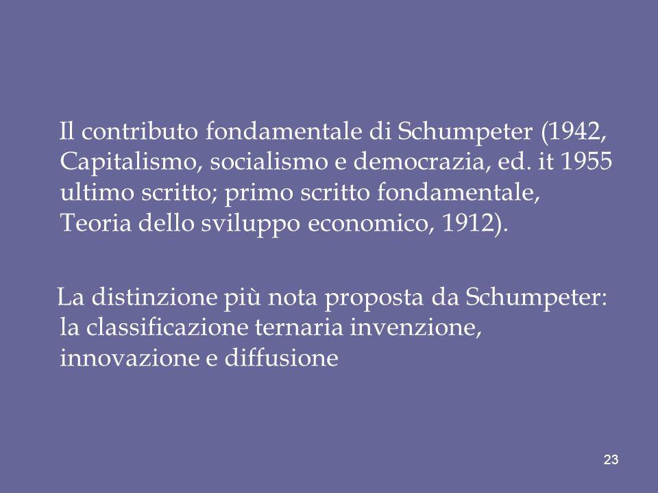 Il contributo fondamentale di Schumpeter (1942, Capitalismo, socialismo e democrazia, ed. it 1955 ultimo scritto; primo scritto fondamentale, Teoria d