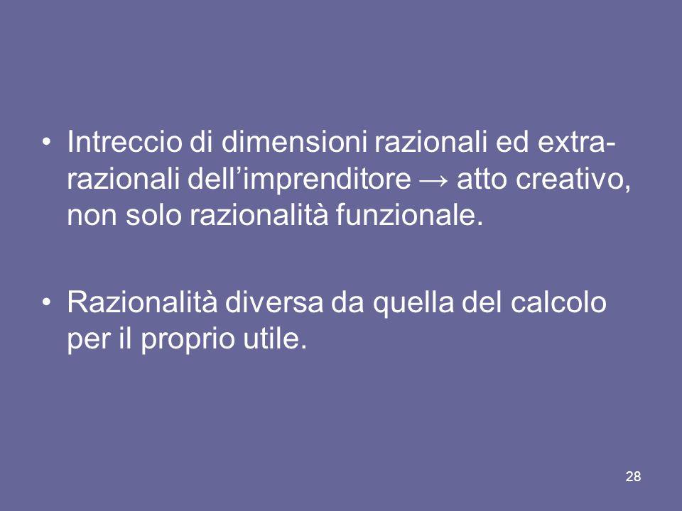 Intreccio di dimensioni razionali ed extra- razionali dellimprenditore atto creativo, non solo razionalità funzionale. Razionalità diversa da quella d