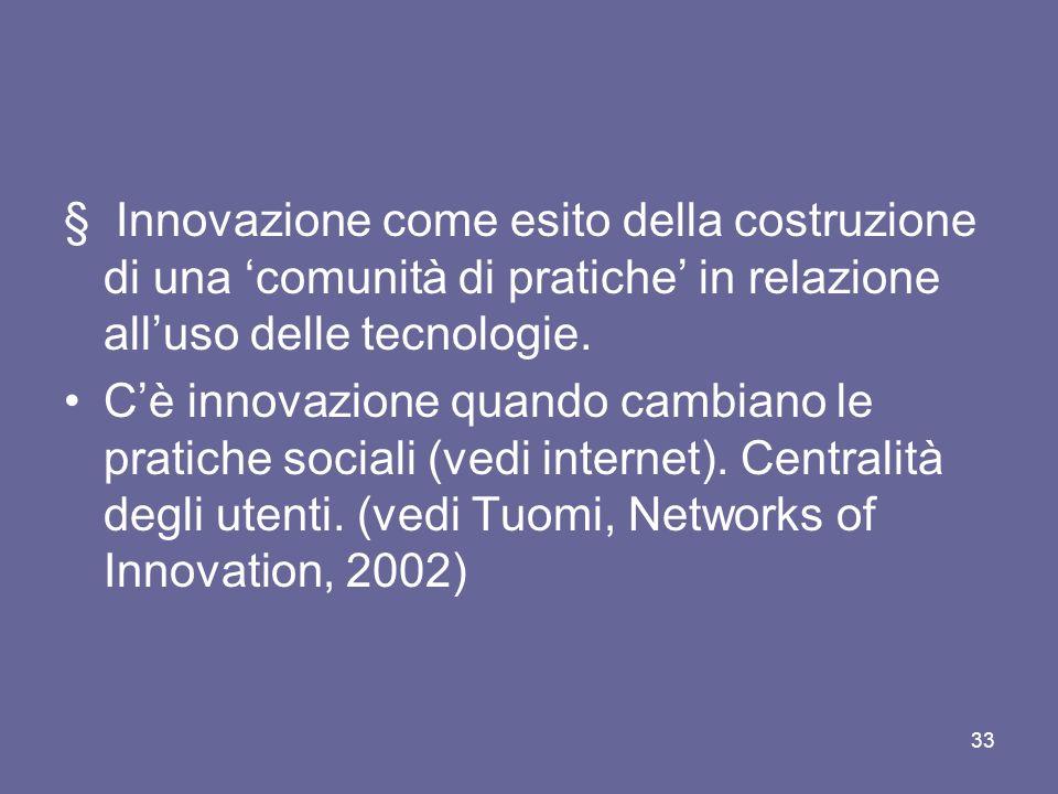 § Innovazione come esito della costruzione di una comunità di pratiche in relazione alluso delle tecnologie. Cè innovazione quando cambiano le pratich