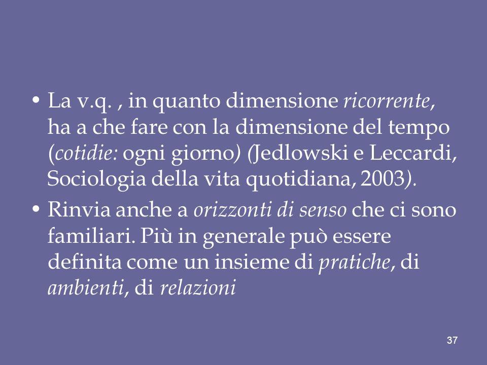 La v.q., in quanto dimensione ricorrente, ha a che fare con la dimensione del tempo ( cotidie: ogni giorno ) ( Jedlowski e Leccardi, Sociologia della