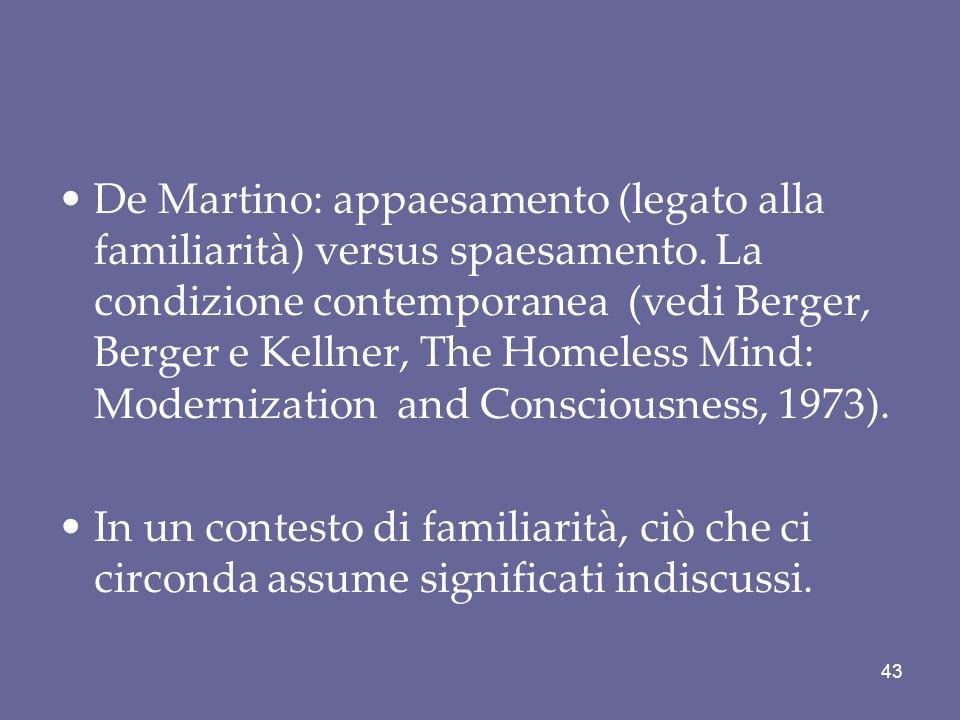 De Martino: appaesamento (legato alla familiarità) versus spaesamento. La condizione contemporanea (vedi Berger, Berger e Kellner, The Homeless Mind: