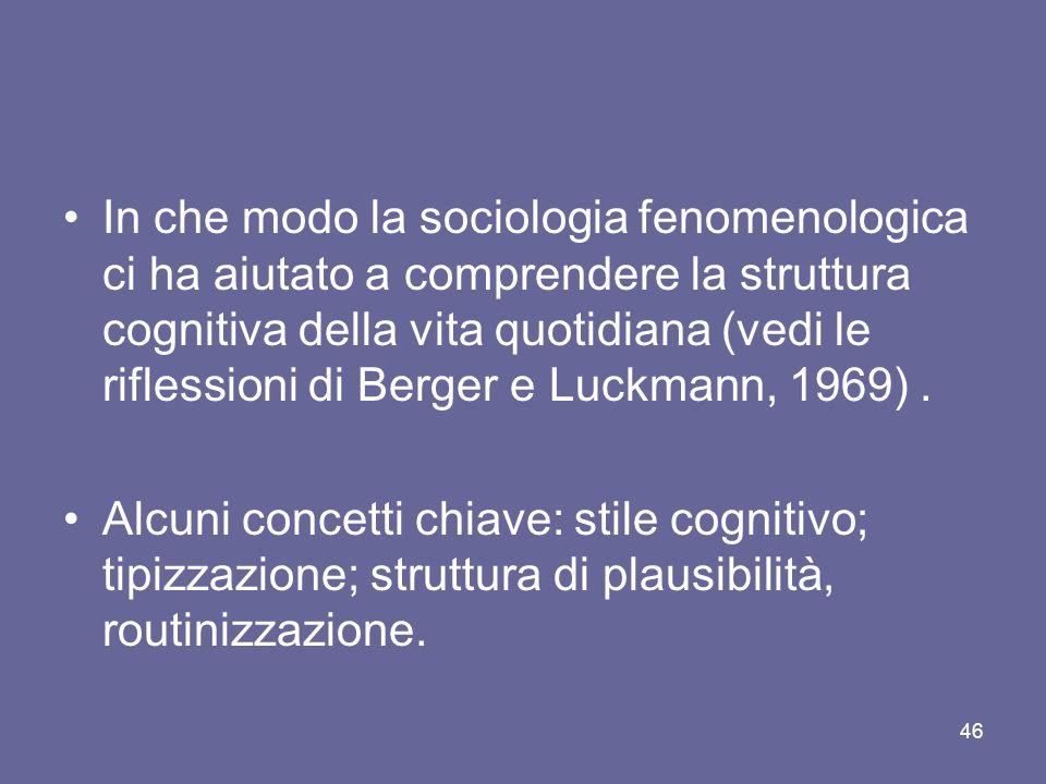 In che modo la sociologia fenomenologica ci ha aiutato a comprendere la struttura cognitiva della vita quotidiana (vedi le riflessioni di Berger e Luc