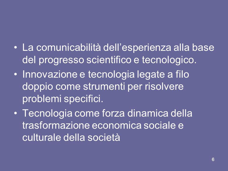 La comunicabilità dellesperienza alla base del progresso scientifico e tecnologico. Innovazione e tecnologia legate a filo doppio come strumenti per r