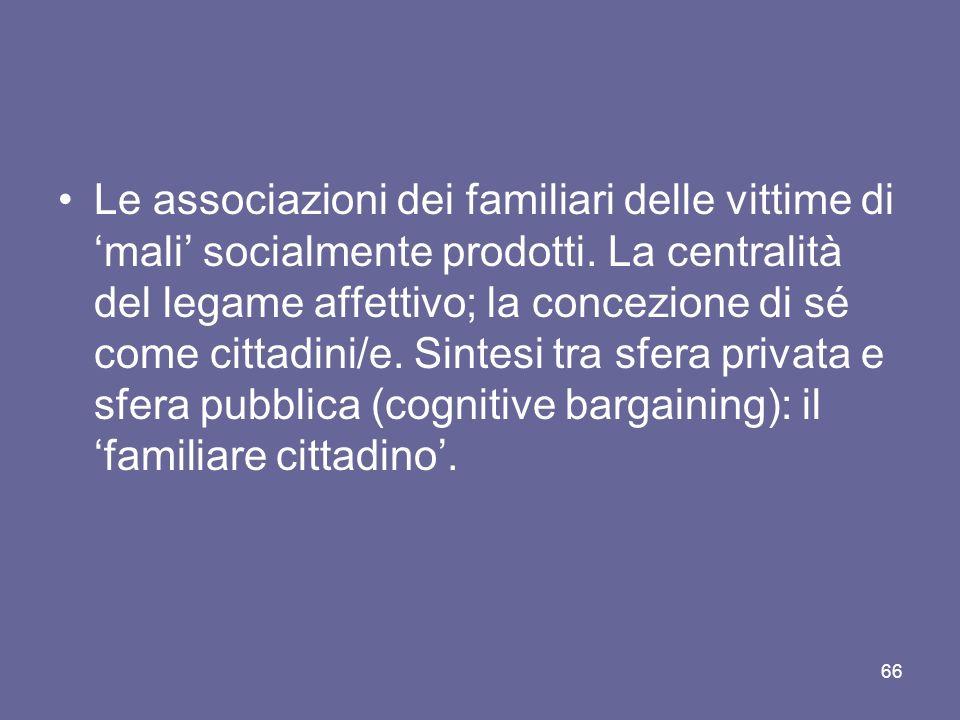 Le associazioni dei familiari delle vittime di mali socialmente prodotti. La centralità del legame affettivo; la concezione di sé come cittadini/e. Si