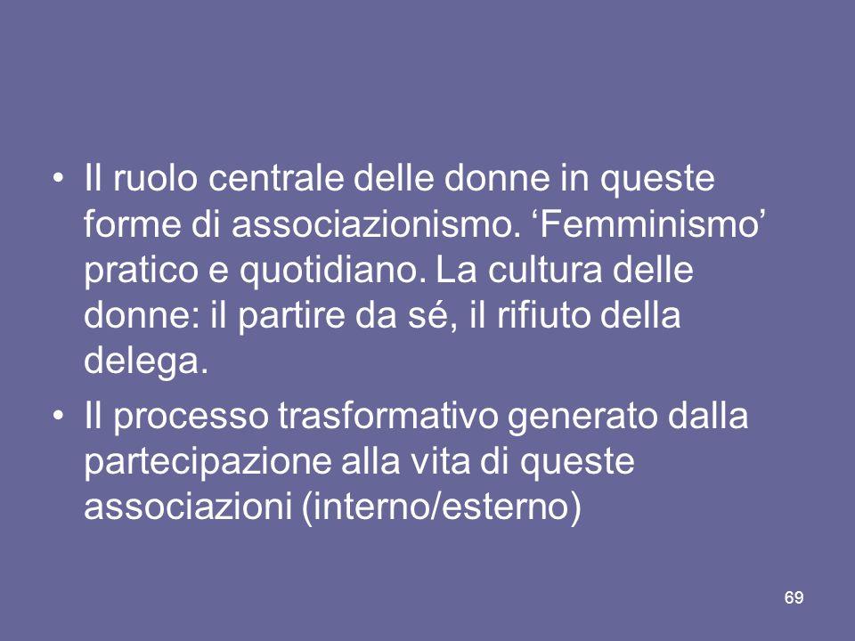 Il ruolo centrale delle donne in queste forme di associazionismo. Femminismo pratico e quotidiano. La cultura delle donne: il partire da sé, il rifiut
