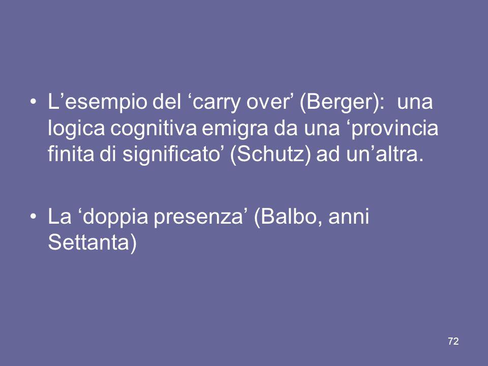 Lesempio del carry over (Berger): una logica cognitiva emigra da una provincia finita di significato (Schutz) ad unaltra. La doppia presenza (Balbo, a