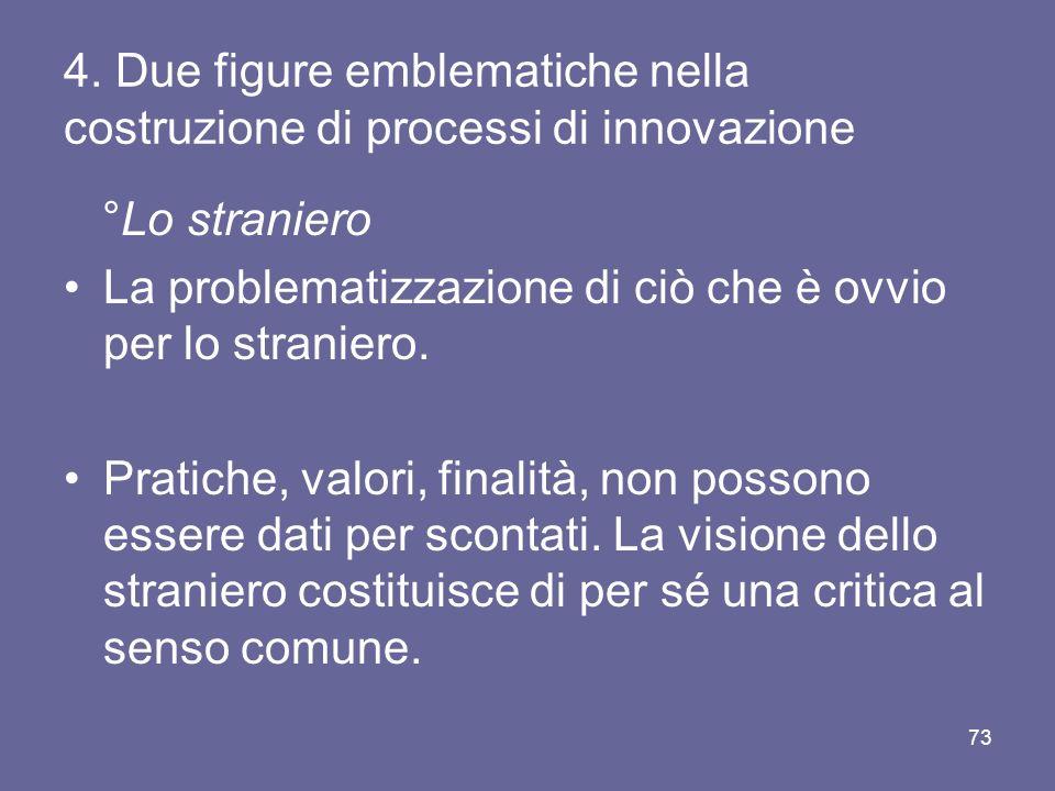 4. Due figure emblematiche nella costruzione di processi di innovazione °Lo straniero La problematizzazione di ciò che è ovvio per lo straniero. Prati